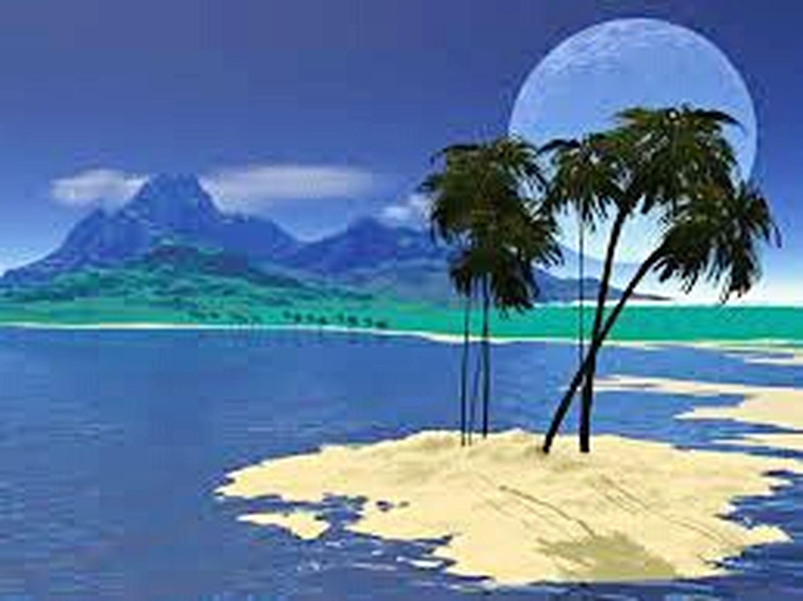 tranquil scene, tranquility, water, scenics, sea, palm tree, tree, blue, mountain, beauty in nature, sky, nature, beach, idyllic, day, cloud, non-urban scene, growth, sunlight, shore