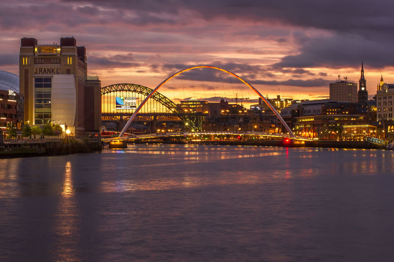 Bridge - Man Made Structure Built Structure City Cityscape Gateshead Illuminated Newcastle Upon Tyne North East Engln River River Tyne Riverside Sky United Kingdom Water Waterfront