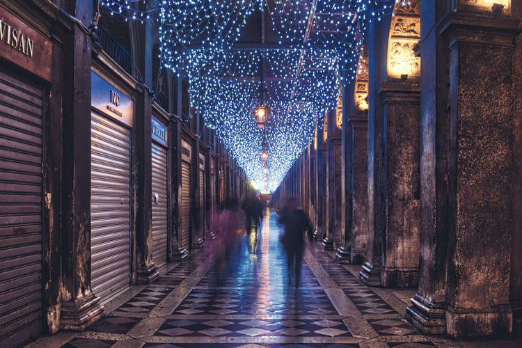 The galery City Light Venezia Venice, Italy Architecture Building Exterior Built Structure Christmas Decoration Galery Illuminated Indoors  Lighting Equipment Night Real People The Way Forward Venice