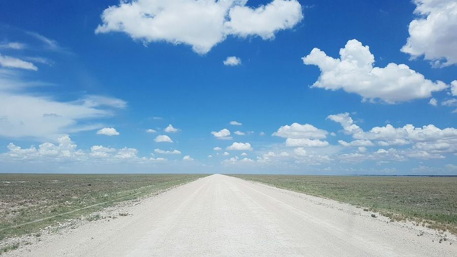 Cloud - Sky No People The Way Forward Landscape Rural Scene Outdoors Road Nature Day Way Clouds And Sky Sunshine Skyporn Beauty In Nature Sky Blue Sky Wide Open Spaces Wide Angle Clouds Africa Namibia Cloud And Sky Horizon Road Trip First Eyeem Photo