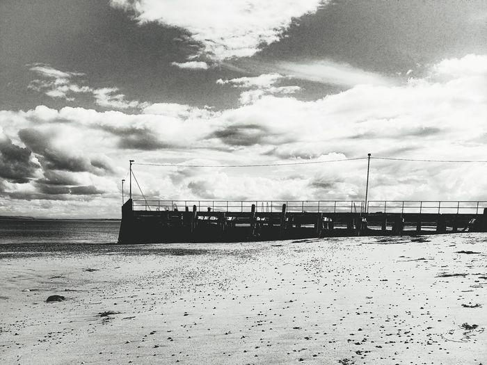 Goldspie, Scotland Scotland Black & White Pier Goldspie Beach Sea Beach Water Sand Silhouette Sky Cloud - Sky Calm Sandy Beach Shore Coastline