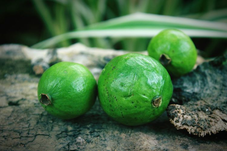 Close-up of guavas on table