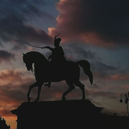 Zagreb Tak Imam Te Rad Statue Zagreb Sunset_collection Sunset Silhouettes Sky Skyporn Sky And Clouds Colors Lookingup Detail Art Walking Around Ban Josip Jelacic Hello World Main Square Sunset Silhouette Beautiful Sky Look Up Streetphotography Cityscapes Horse Symbol Of City Horse Statue
