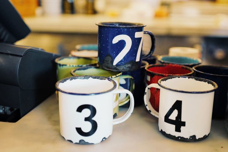 Number Focus On Foreground Coffee Cup Table Indoors  Refreshment Food And Drink Drink Close-up No People Alphabet Freshness Day