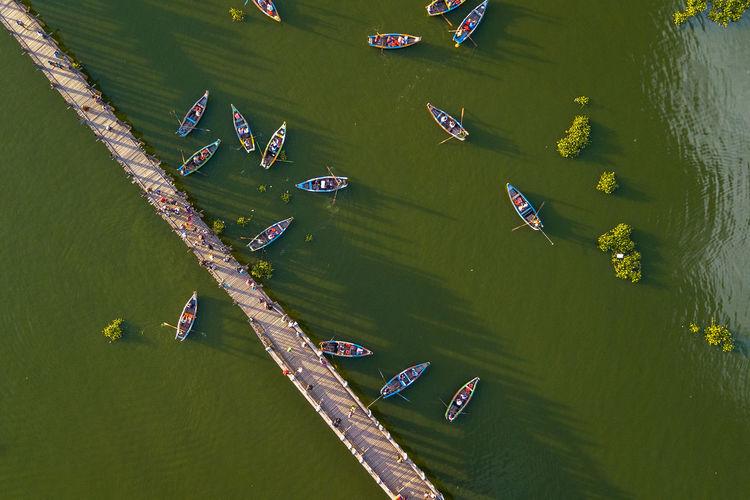 High angle view of floating on lake