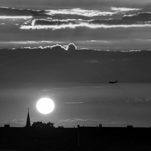 Blackandwhite Sunset Plane Mountain Silhouette Business Finance And Industry Sky Landscape Dramatic Sky Forked Lightning Cumulonimbus Meteorology