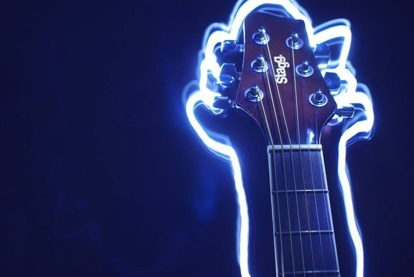 The Color Of Technology Unedited Stagg Guitar Light Neon Trailing Lights Music Different Night Photography Photooftheday Capturing Motion