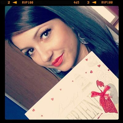 Me with Beautiful Card on valentine's Day :) redlipsfollowme