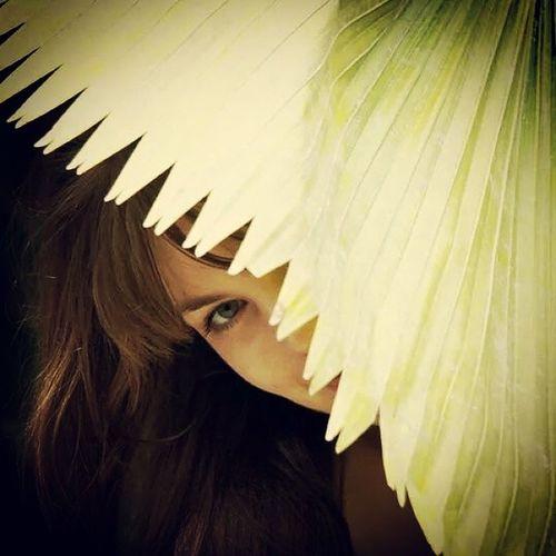 Eden Project Palmleaves Hiding Portrait Portrait Of A Woman
