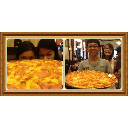 "How's two 20"" pizza sound? For 9 ppl!! Great lunch at USS! InstaFrame YourMoments"