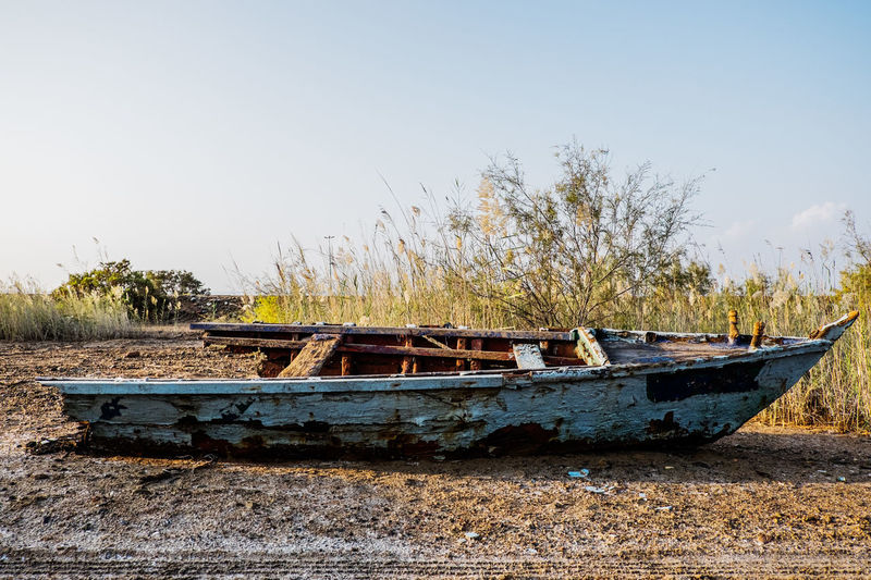 Clear Sky Day Mode Of Transport Nautical Vessel Outdoors Ruin Ruined Sky Transportation Tree Water