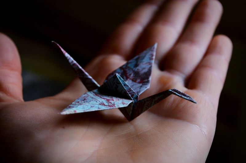 Cropped Image Of Person Holding Origami