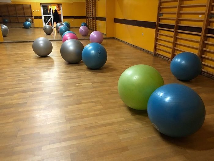 Fitness Ball Ball Indoors  Exercising Balloon Multi Colored Gym Health Club Healthy Lifestyle No People Pool - Cue Sport Pool Ball Sport Day