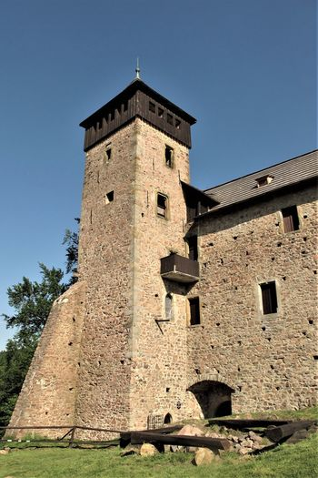 Castle Architecture Blue Building Building Exterior Built Structure Clear Sky Day Fort History Low Angle View Medieval No People Old Outdoors Sunlight The Past Tower Travel Destinations Wall