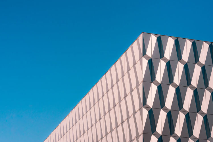 Minimalism Minimalistic Minimalist Architecture Abstract Futuristic Art And Craft Corner Modern Blue Clear Sky Sky No People Built Structure Low Angle View Day Nature Copy Space Pattern Building Exterior Sunlight White Color Geometric Shape Shape Outdoors Wall - Building Feature Lighting Equipment