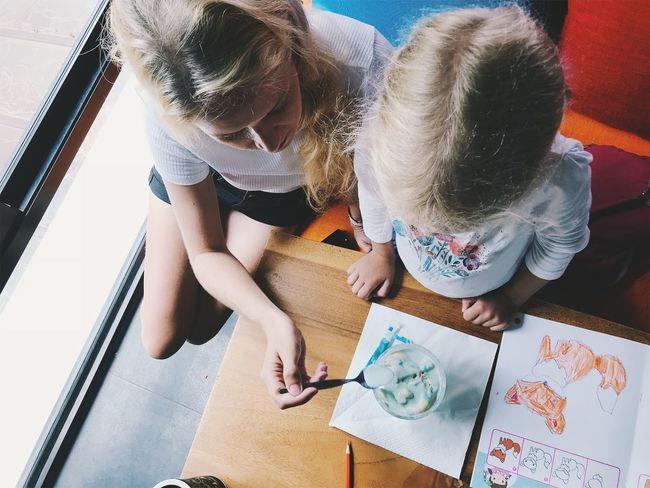 Art And Craft Bonding Casual Clothing Child Childhood Creativity Drawing - Activity Drawing - Art Product Family Females Girls High Angle View Indoors  Innocence Leisure Activity Lifestyles Real People Sister Togetherness Two People Women