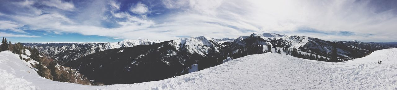EyeEm Selects Snow Nature Beauty In Nature Mountain Scenics Tranquil Scene Cold Temperature Sky Winter Landscape Cloud - Sky No People Outdoors Panoramic Mountain Range Tranquility Day Snowcapped Mountain Colorado Aspen Maroon Bells Maroonbells