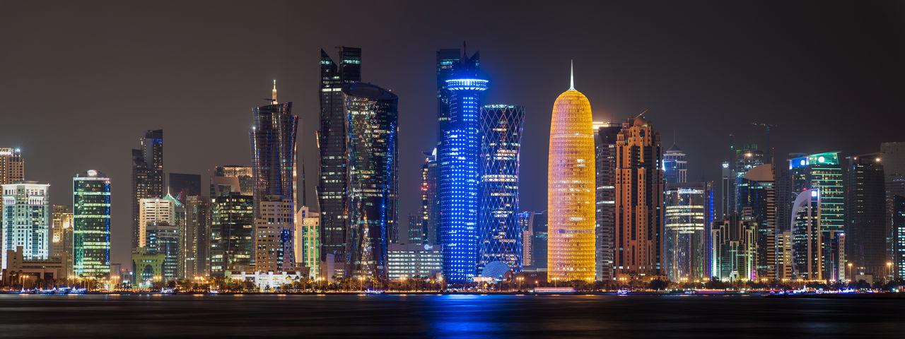 Dha skyline panorama Architecture City Cityscape Doha Light Panorama Panoramic Skyline Travel Building Building Exterior Night No People Qatar Skyscraper Travel Destinations Urban