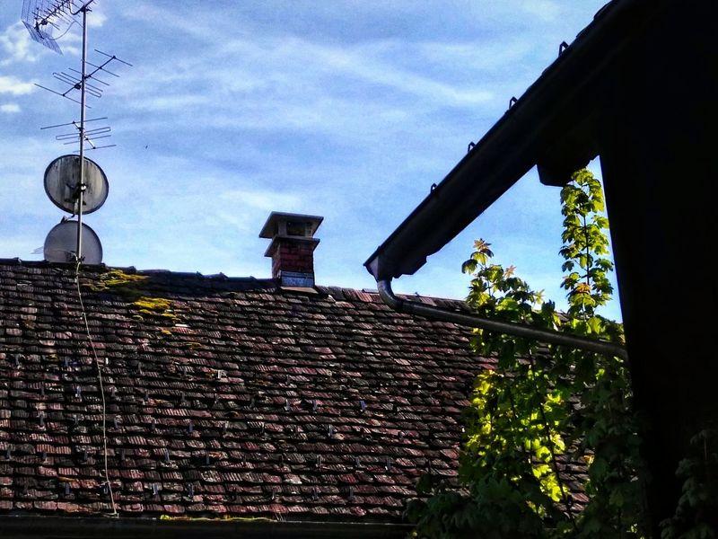 Ziegeldach Roof Architecture Built Structure Low Angle View Outdoors Sky Building Exterior Dächer Dächergewächse Moose Höher Strauch Sträucher Dachrinne Regenrinne Schornstein Antennen Sat Satellitenschüssel Light And Shadow
