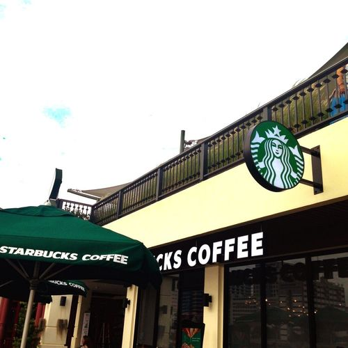 Starbucks Starbuck Starbucks Coffee Starbucks ❤ Starbuckscoffee Starbucks <3 Starbucksthailand Starbuck Maharaj Text Building Exterior Architecture Built Structure Communication Low Angle View Outdoors Day No People City Sky Banner - Sign