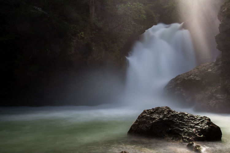Tranquility Beauty In Nature Blurred Motion Day Flowing Flowing Water Forest Land Long Exposure Motion Nature No People Non-urban Scene Outdoors Power In Nature Rock Rock - Object Scenics - Nature Solid Tranquil Scene Tranquility Tree Water Waterfall Zen