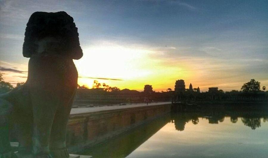 Sunset Cambodia Ruins Architecture Angkor Wat