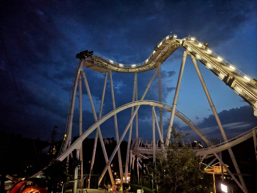 Amusement Park Night Sky Illuminated Amusement Park Ride Oblivion Gardaland Gardalandpark Point Of No Return Roller Coaster Go Higher