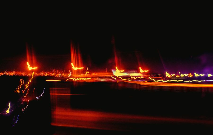 """""""Light painting in late-night traffic"""" (2016) No People Outdoors Orange Lights Car Light Trails Denver,CO Motion Blurred Abstractions In Colors Abstract Photography In The City Light Painting Photography"""