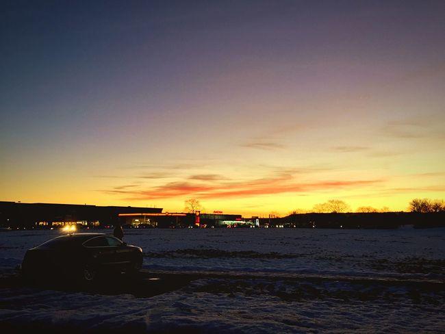Sunset Evening Sky Dusk Car Landscape Winter Open Edit
