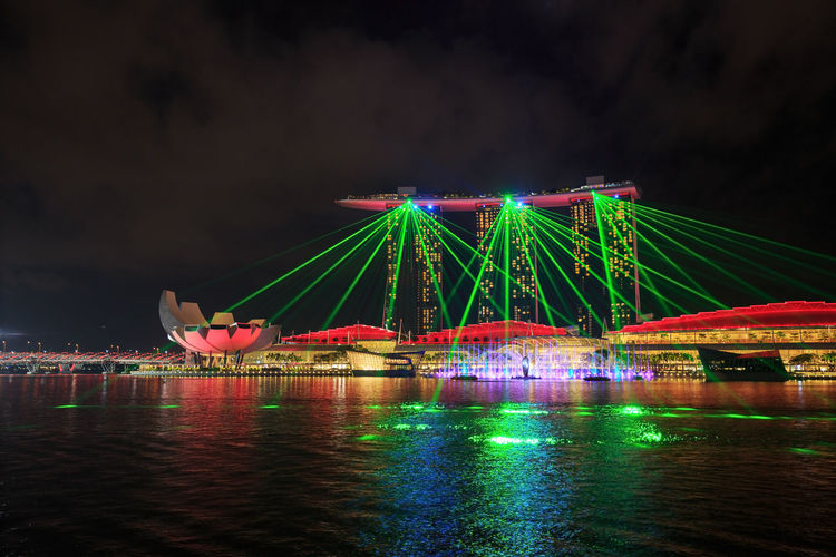 ASIA City Cityscape Marina Bay Sands Show Singapore Singapore View Architecture Arts Culture And Entertainment Built Structure Cityscapes Illuminated Laser Lasershow Light And Shadow Marina Bay Multi Colored Night No People Outdoors Singapore City Sky Travel Destinations Water