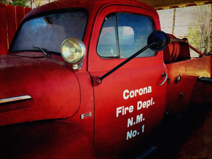 """""""Corona F.D."""" The first firetruck for the Village of Corona, New Mexico, USA, Fire Department. Firetruck Firetrucks Vintagefiretrucks Newmexicophotography Historic Ford Red Firetrucks Fire Department"""