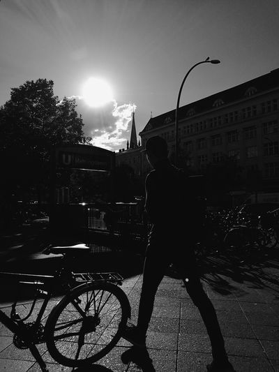 City Sunlight Street Silhouette City Street City Life Bicycle Black&white Blacknwhite Black & White Black And White Still Life Blackandwhite Taking Photos HuaweiP9 Monochrome Photography Hanging Out Mobilephotography Eye4photography  People Watching Streetphotography Street Photography Capture Berlin The Street Photographer - 2017 EyeEm Awards
