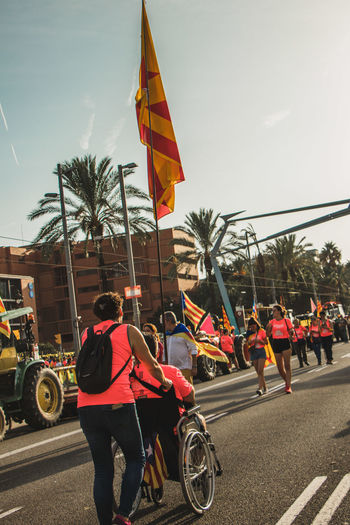 Barcelona, Spain - 09.11.2018 National day of Catalunya (Diada de Cataluña) Barcelona Catalonia Catalunya SPAIN Adult Architecture City Day Flag Flags Group Of People Land Vehicle Lifestyles Men Mode Of Transportation Outdoors Patriotism People Real People Road Sky Street Symbol Transportation Tree