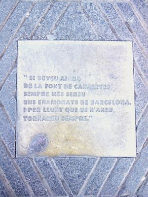 Please someone translate this? Being A Tourist Font De Canaletes Plaça De Catalunya