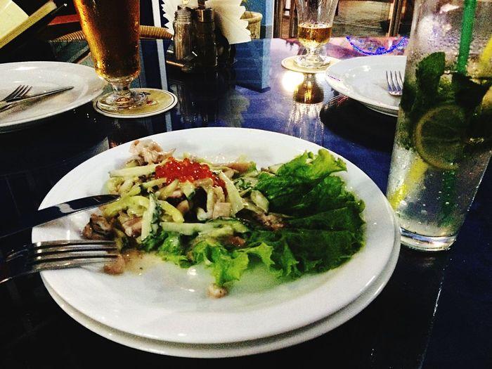 Eating Tasty Salad Seafoods Amazing Pretty Foodporn Food Yammy!!  Enjoying A Meal