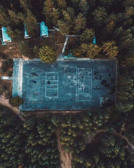 Text Tree Day Communication Growth Outdoors No People Plant Architecture Close-up Playground Playing Games Playing Field Abandoned Abandoned Places Drone  Dronephotography Droneshot Drone Photography Woods Cabin In The Woods Cabincrew Basketball Basketball Court Hypecourts