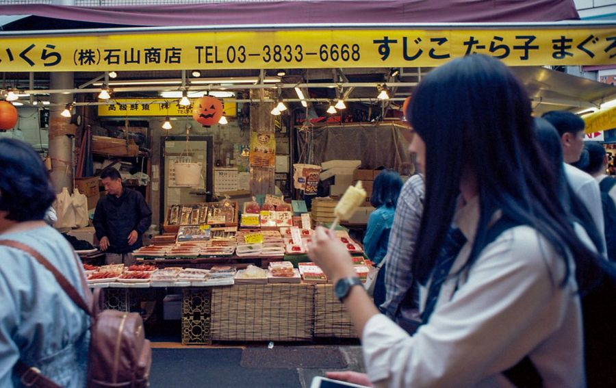 Street Photography Streetphotography Tokyo Film Photography Film Food And Drink Group Of People Adult Women Food Business Restaurant City Leisure Activity Men Crowd People Text Architecture Retail  Sitting Eating Table Casual Clothing Communication