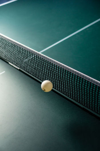 High Angle View Of Net On Tennis Table