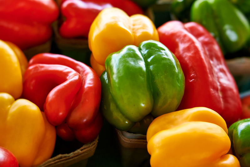 Close-up of bell peppers for sale at market
