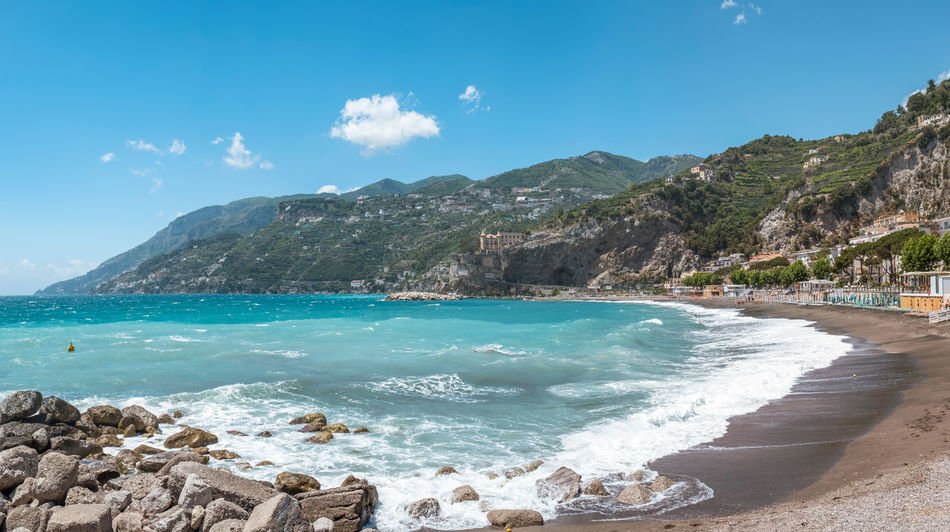 Amalfi Coast Mediterranean Sea Mediterranean Culture Panoramic Turquoise Colored Vacations Wave Beach Campania Rock - Object Sea Seascape Shore Sky Summer Tourism Travel Destinations