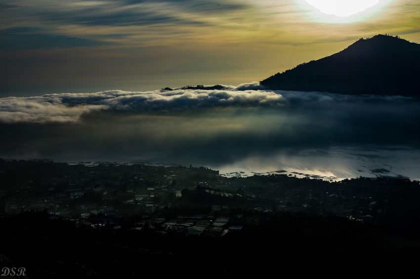 Birds eye view Mount Agung Bali Beauty In Nature Nature Sky Sunset Scenics Tranquil Scene No People Mountain Tranquility Silhouette Landscape Outdoors Day