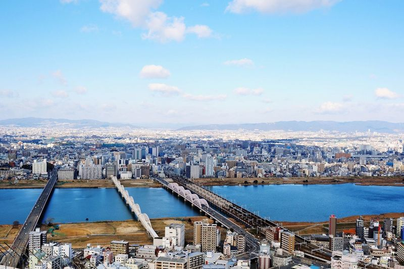 Osaka 大阪 Japan Blue Sky Japan Photography My Favorite Photo Architecture_collection Architecture Japanese Culture Hayao Miyazaki The River God Spirited Away Feel The Journey Ultimate Japan Battle Of The Cities