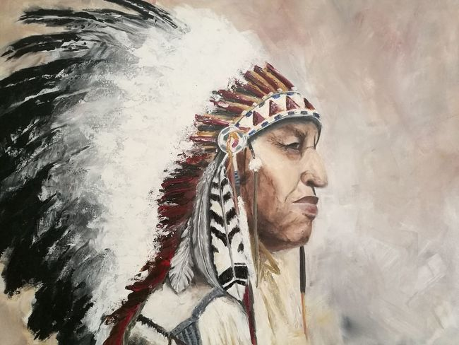 Indian One Person Close-up Paintings Painting Artwork Painters Painter Native American Indian Acrylicpainting  Native American Art Indian