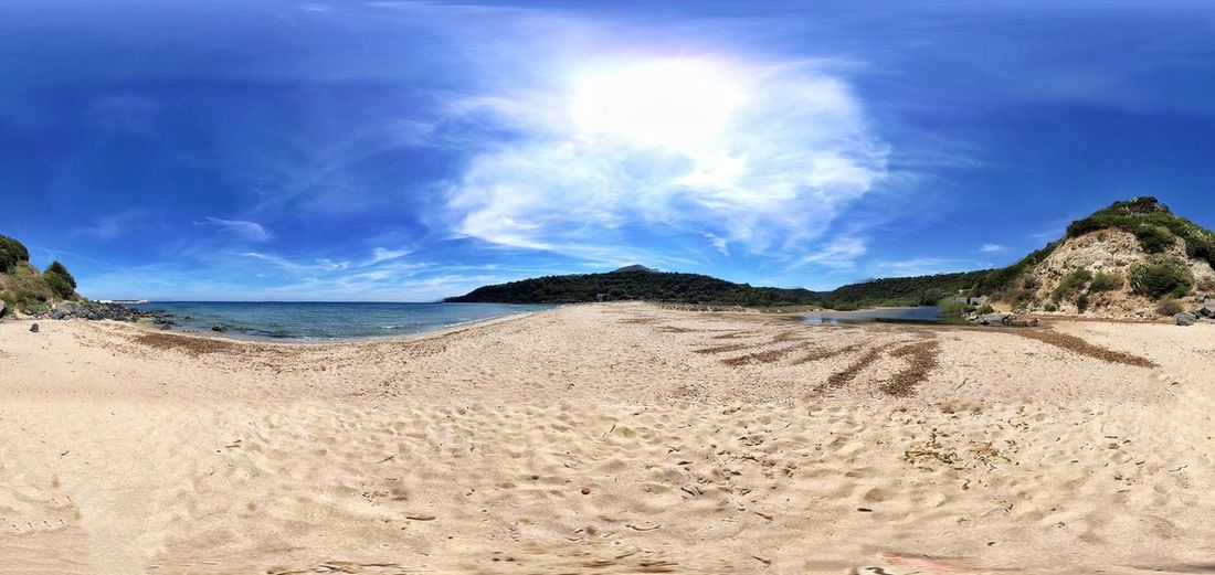 Panoramic view of beach against blue sky