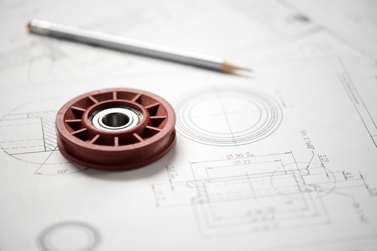 Wheel Bearing Blueprint Concept Design Drawing Engineering Technical Technology
