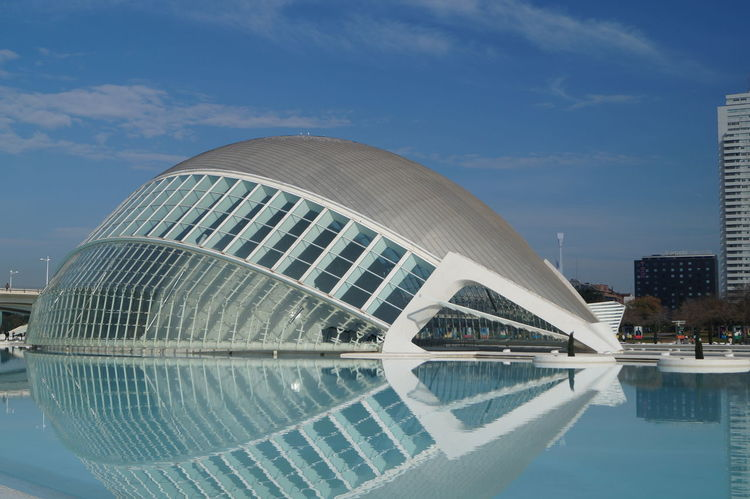 Architecture City Ciudad De Las Artes Y Las Ciencias Ciutat De Les Arts I Les Ciències Comunidad Valenciana Comunitat Valenciana Engineering Espana-Spain Famous Place Hemisferic Modern Outdoors Reflection Urban Valencia, Spain Reino De Valencia Blue Wave Regne De Valencia The Architect - 2016 EyeEm Awards Adventures In The City