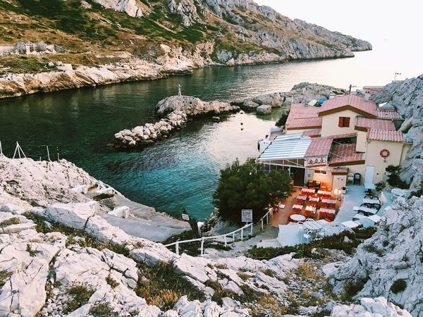 Sea Water Beach Rock - Object Building Exterior Vacations No People Outdoors Nature Travel Destinations Beauty In Nature Beach Life Marseille City Life Streetphoto_color France Summer South Landscape_Collection Ending The Day Sunset_collection