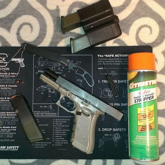 So decided to take the paint off the slide.... A little scrubbing and a can of this shit..CitristripSaferPaintAndVarnishRemover .... SaferThanWhat .?? It works.... Stripped the paint no problem...looks like I never painted it..... Ttown TTownstyle Tacompton Guns GunPorn PewPew MolonLabe Glock17Gen4 9mm Oorah! AngelOfDeath OpenCarryWashington LoveMyRights 253 253zzy Starboy StarboyStyle CauseImAStar****************