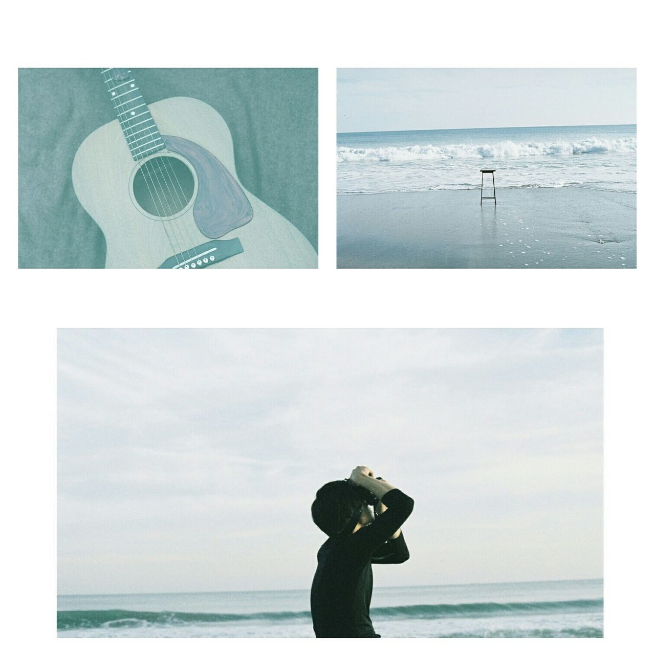 Collage of guitar with photographer and sea