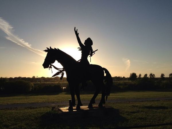 Horse Horseback Riding Riding Jockey Animal Sunset One Animal Outdoors Domestic Animals Animal Themes Adult People Sky King - Royal Person Warrior - Person Headwear Adults Only Day Statue Indian Texas City Dike